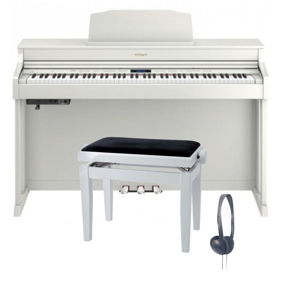 roland hp603 digital piano white bundle. Black Bedroom Furniture Sets. Home Design Ideas