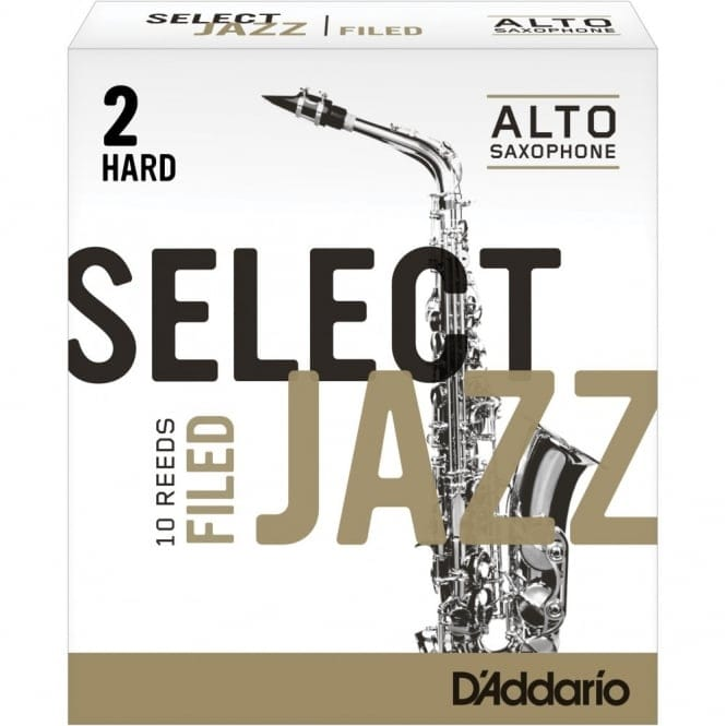 Select Jazz Alto Sax Reeds, Filed, Strength 2 Strength Hard, 10-pack