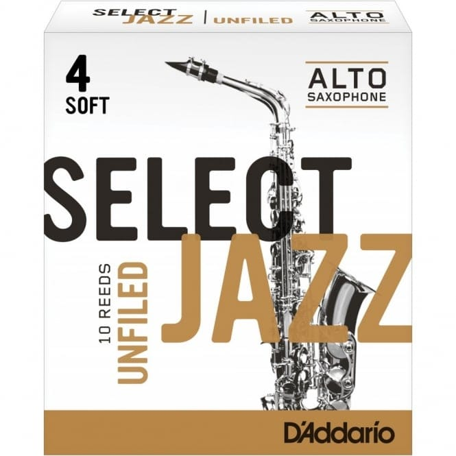 Select Jazz Alto Sax Reeds, Unfiled, Strength 4 Strength Soft, 10-pack