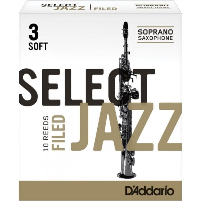 Select Jazz Soprano Sax Reeds, Filed, Strength 3 Strength Soft 10-pack