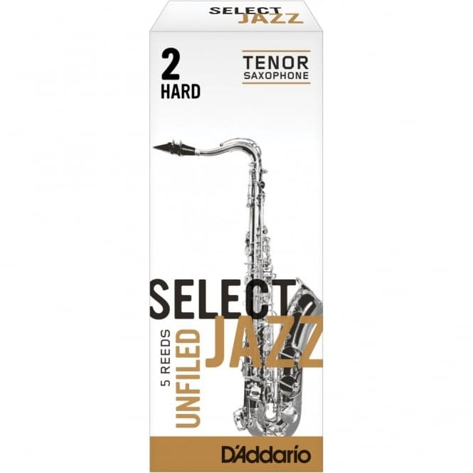 Select Jazz Tenor Sax Reeds, Unfiled, Strength 2 Strength Hard, 5-pack