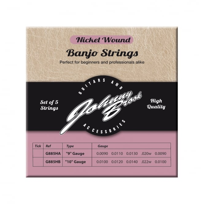 Set of 5 High Quality Nickel Wound Banjo Strings (Gauge .010/.012/.014/.022w/.010)