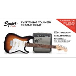 Squier Short Scale Stratocaster pack 10G Brown Sunburst
