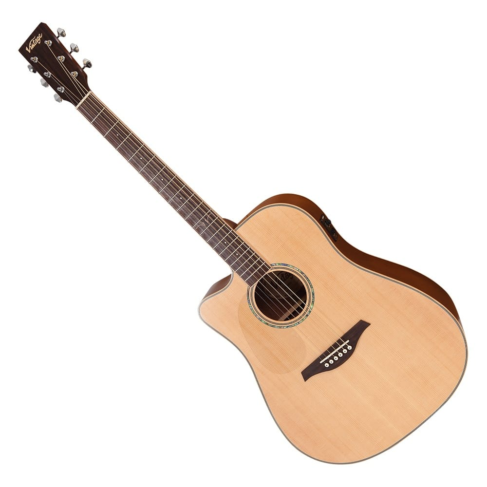 Vintage Electro Left Handed Acoustic Satin Natural With