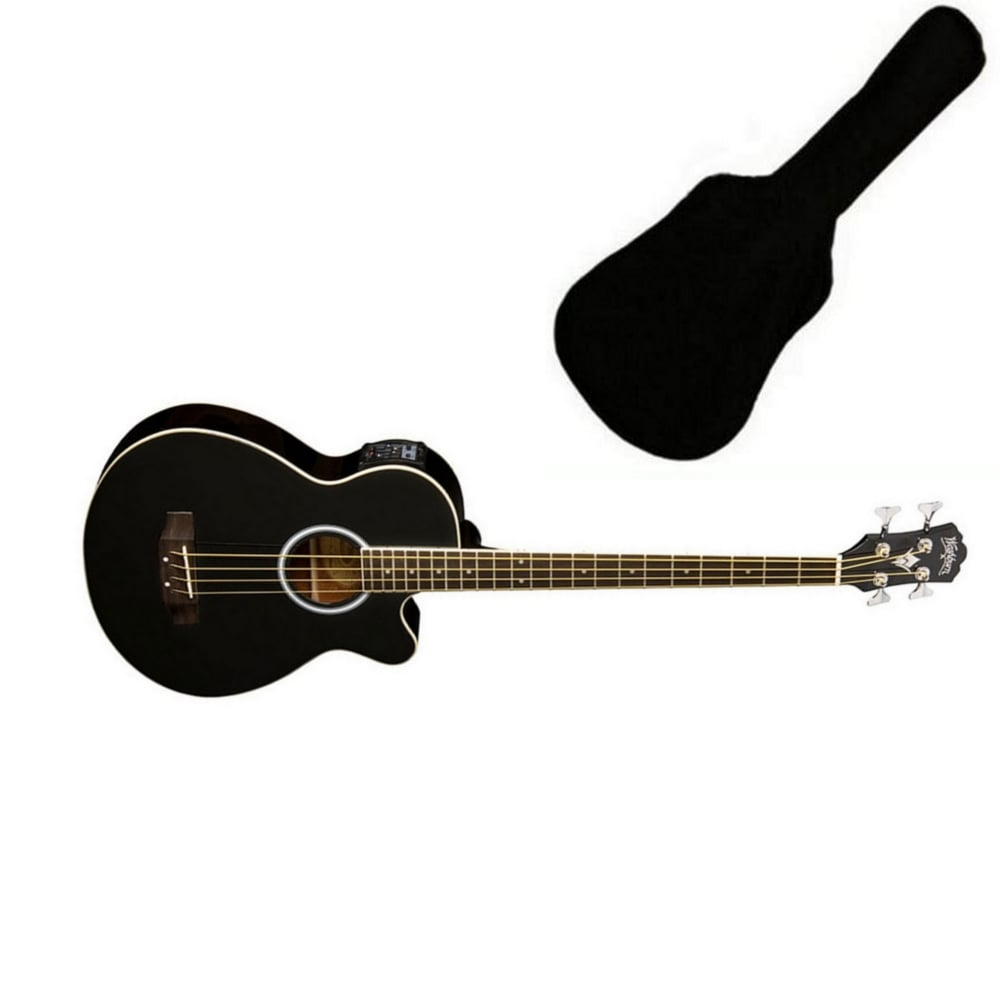 Washburn Ab5b Electro Acoustic Bass Guitar Black From Rimmers Music