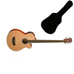 Washburn AB5N Electro Acoustic Bass Guitar Natural | Includes Gigbag