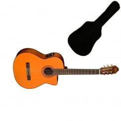 Washburn C5CE Classical Nylon String Electro-Acoustic Guitar, Natural | Includes Gigbag
