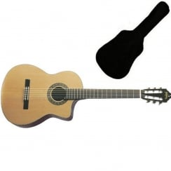Washburn C64SCE Classical Acoustic Guitar, Natural | Includes Gigbag