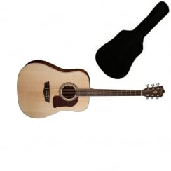 Washburn HD10S Dreadnought Acoustic Guitar, Natural | Includes Gigbag