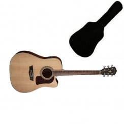 Washburn HD10SCE Electro Acoustic Dreadnought Guitar, Natural | Includes Gigbag