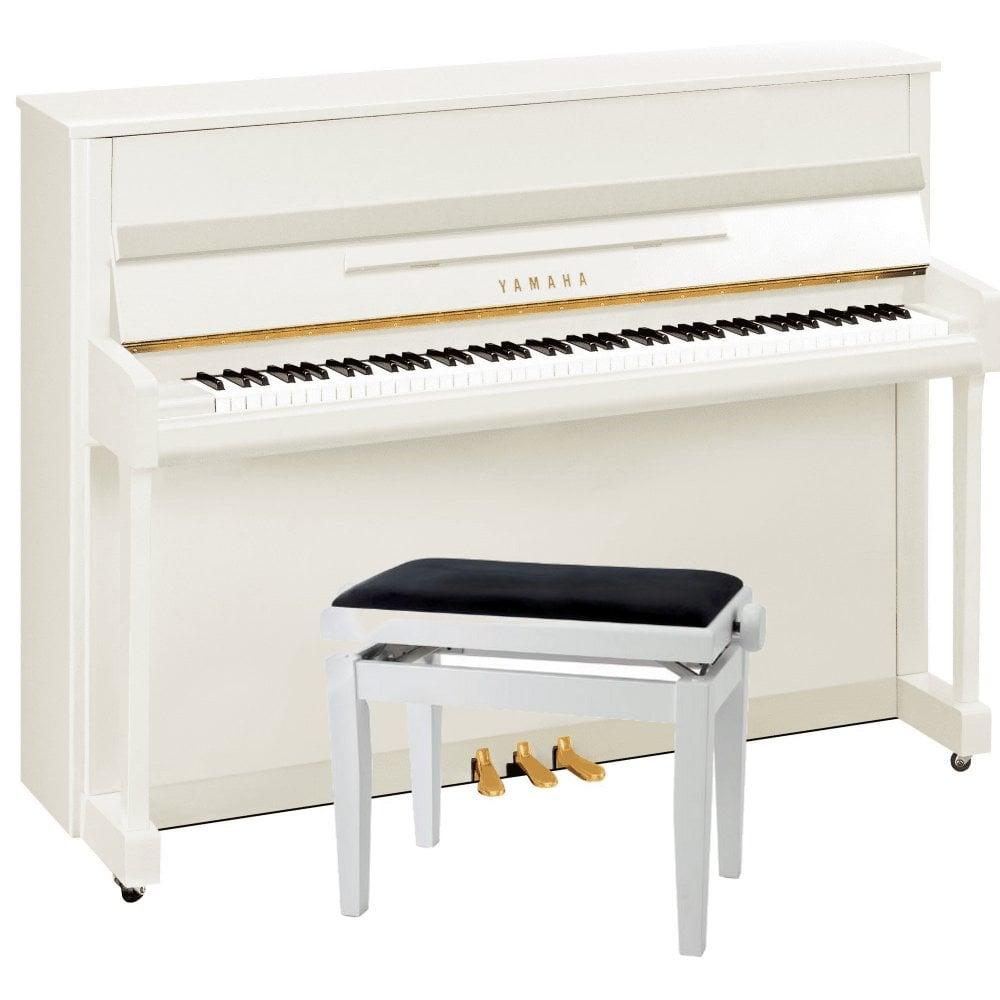 Yamaha b2E Upright Piano | Polished White | Rimmers Music