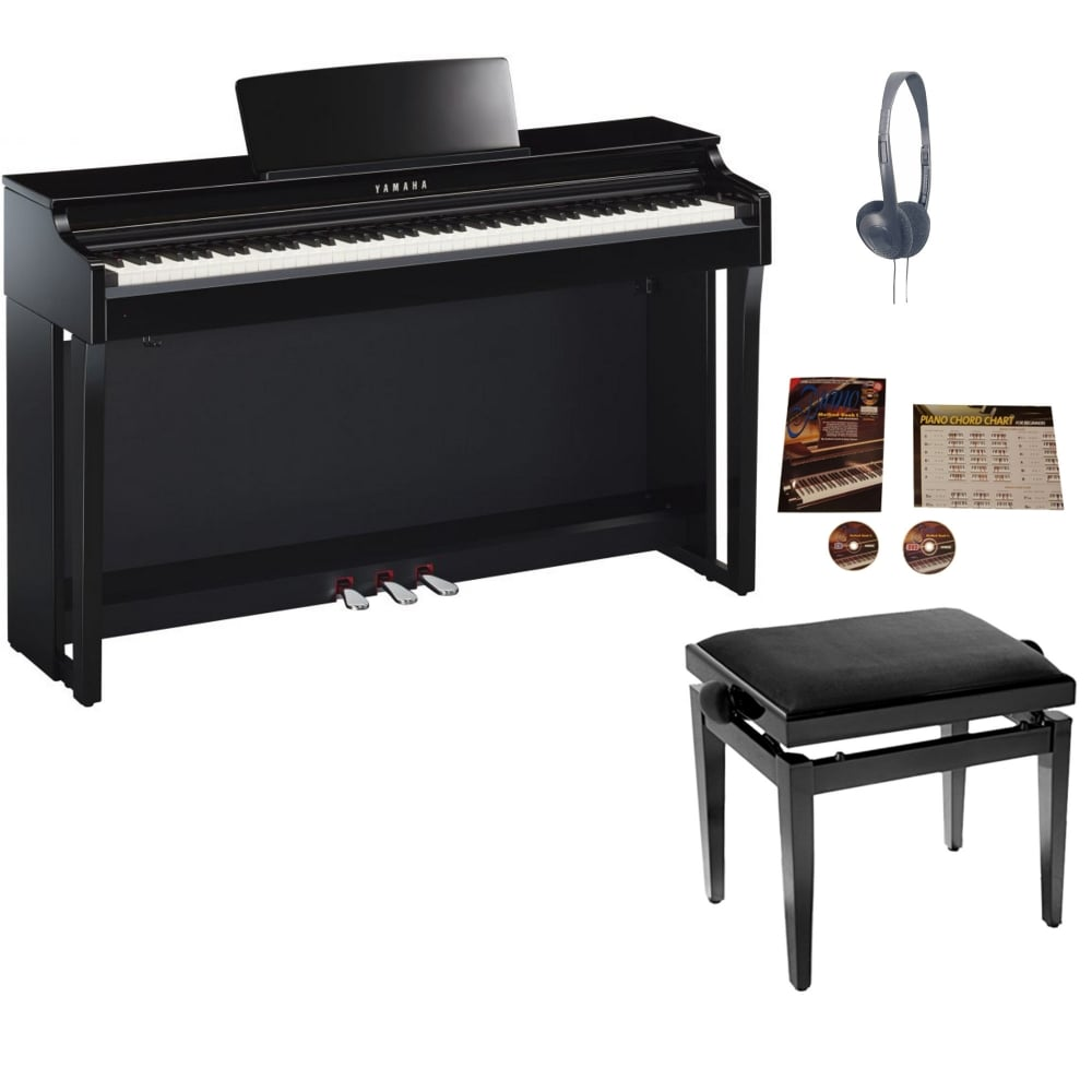 Yamaha clp625 digital piano polished ebonypackage from for Yamaha clp 625
