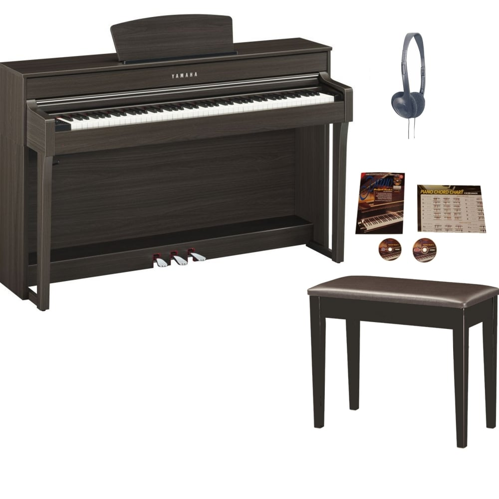 Yamaha CLP 635 Clavinova Digital Piano Dark Walnut Package