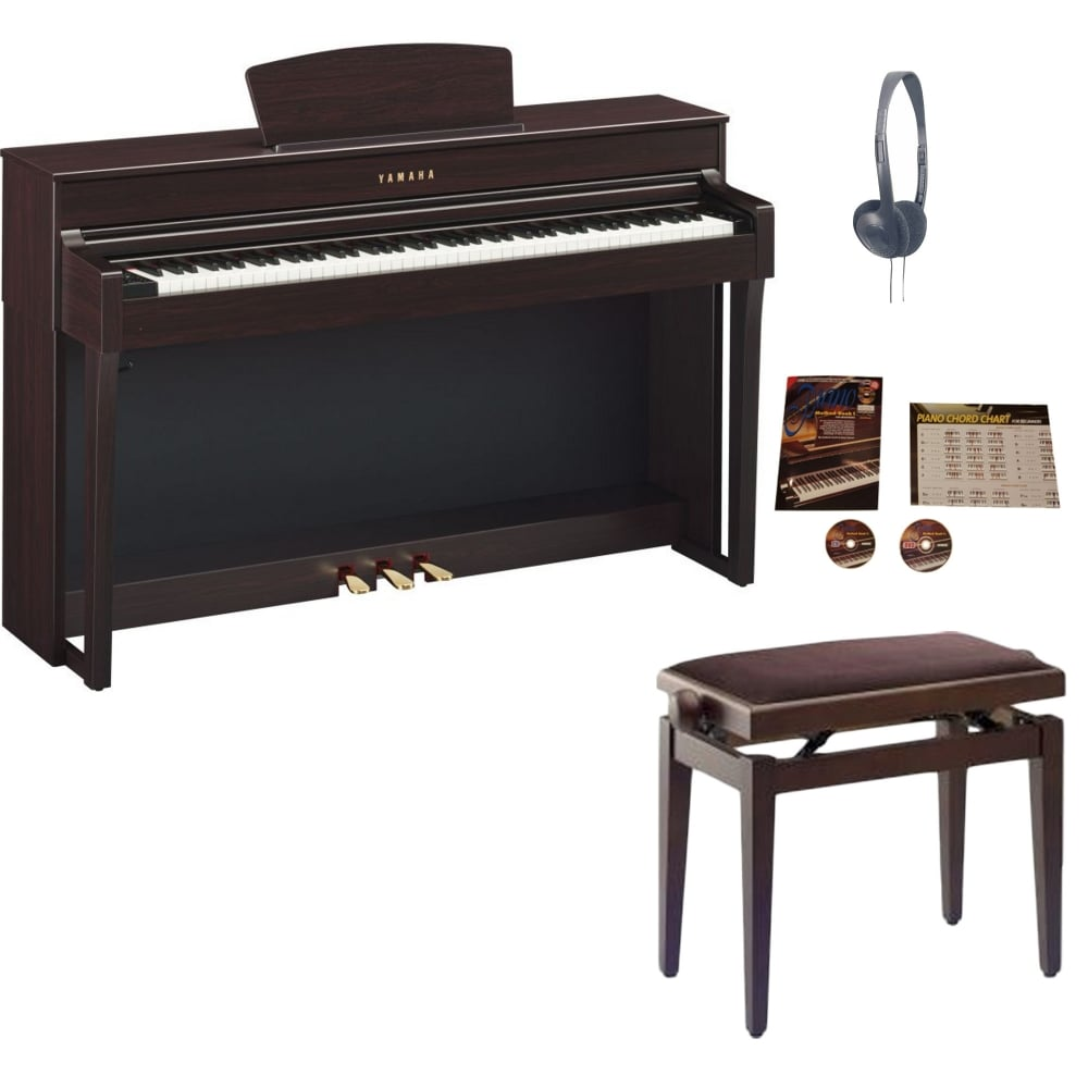 yamaha clp 635 clavinova digital piano rosewood package. Black Bedroom Furniture Sets. Home Design Ideas