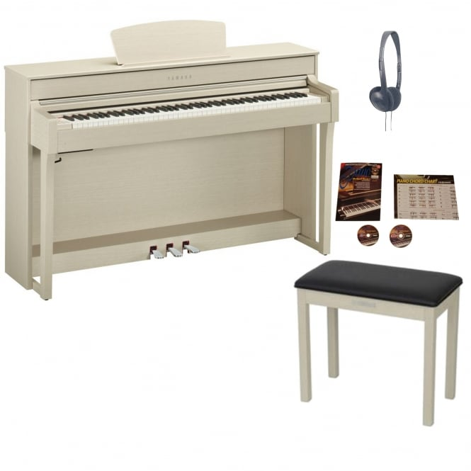 Yamaha CLP 635 Clavinova Digital Piano White Ash Package