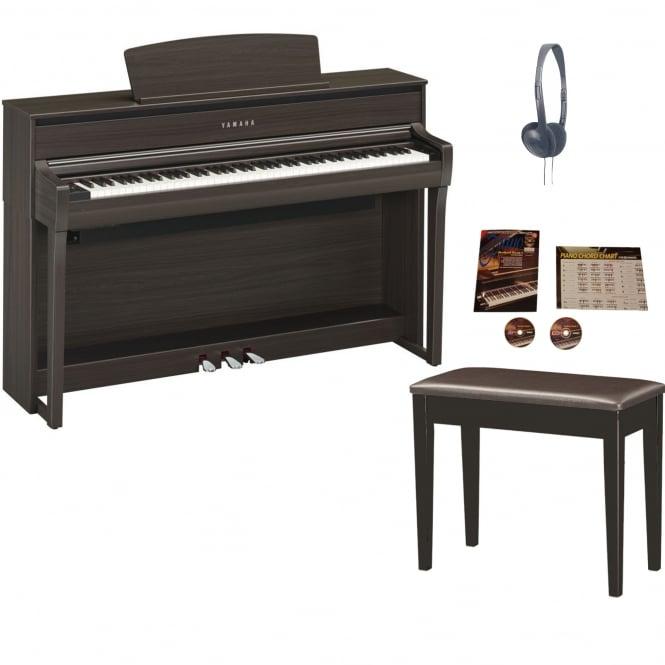 yamaha clp 675 clavinova digital piano dark walnut package. Black Bedroom Furniture Sets. Home Design Ideas