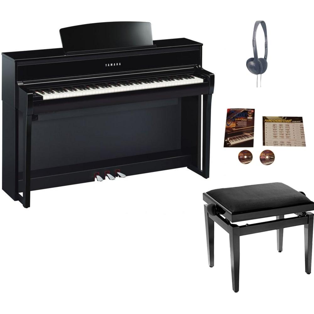 yamaha clp 675 clavinova digital piano polished ebony. Black Bedroom Furniture Sets. Home Design Ideas