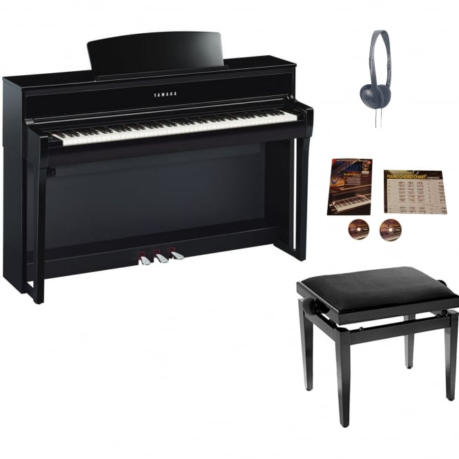 Yamaha CLP 675 Clavinova Digital Piano Polished Ebony Package