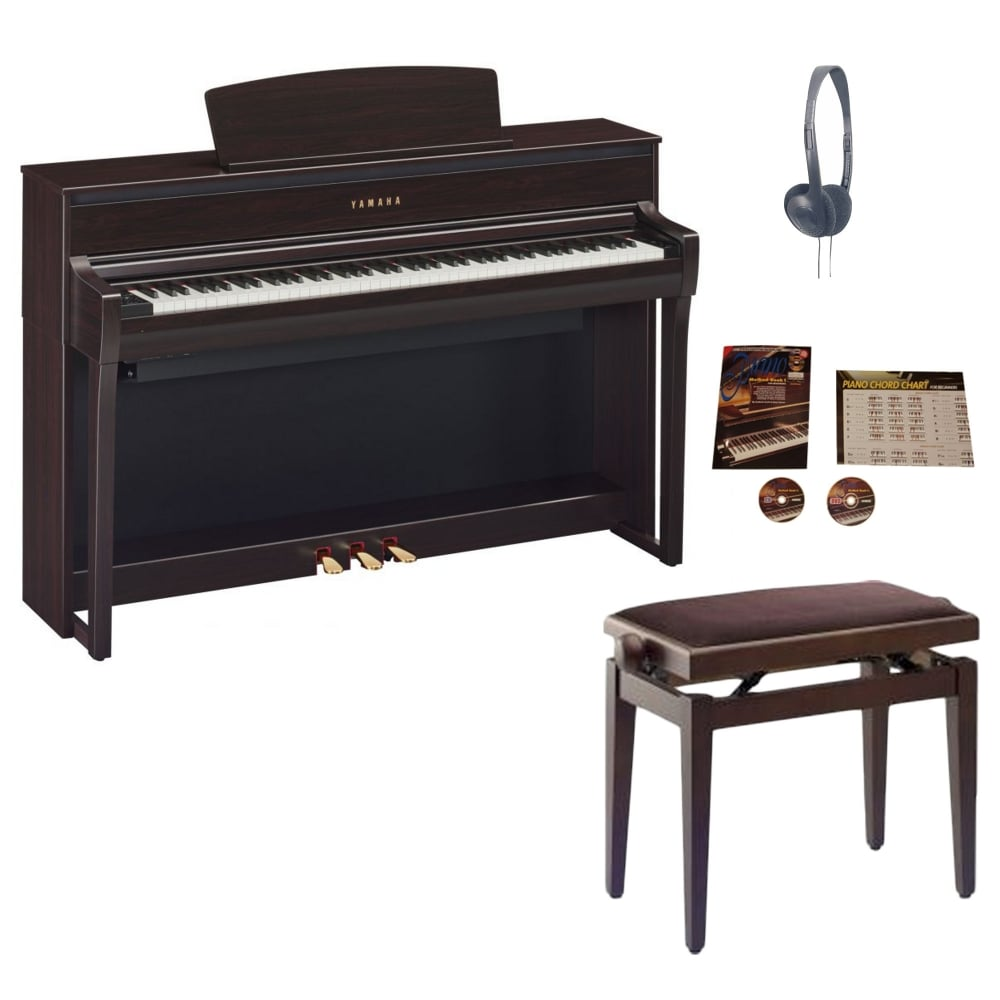 yamaha clp 675 clavinova digital piano rosewood package. Black Bedroom Furniture Sets. Home Design Ideas