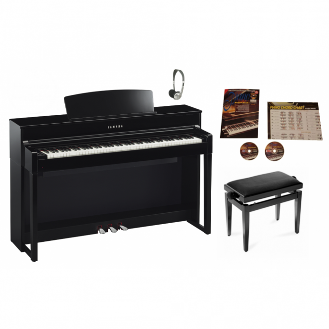 Yamaha CLP575PE Digital Piano Bundle | Polished Ebony