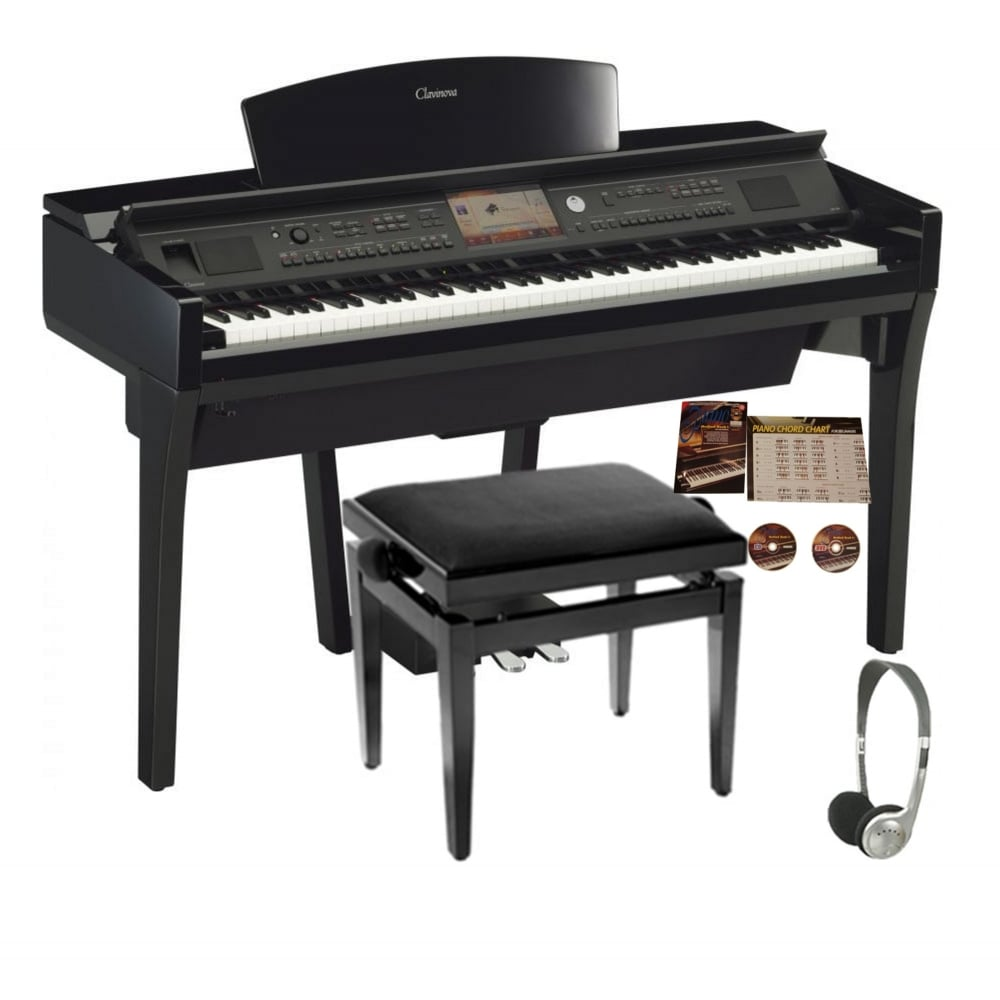 yamaha cvp 709 clavinova digital piano polished ebony package. Black Bedroom Furniture Sets. Home Design Ideas