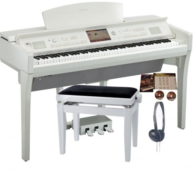 yamaha cvp 709 clavinova digital piano polished white package. Black Bedroom Furniture Sets. Home Design Ideas