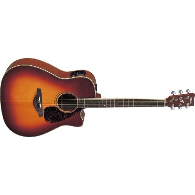 Yamaha fgx720sca brown sunburst acoustic guitar for Yamaha fgx720sca price