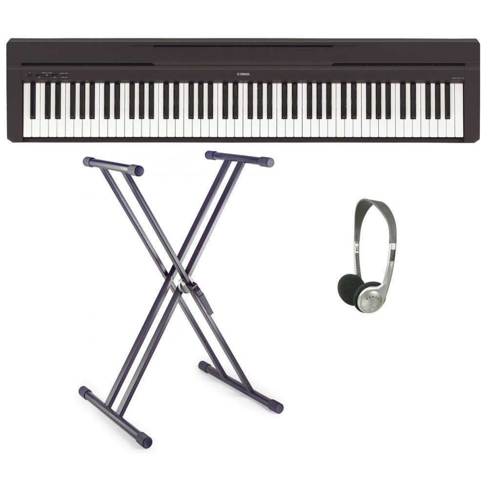 yamaha p 45b portable piano with double x frame headphones. Black Bedroom Furniture Sets. Home Design Ideas