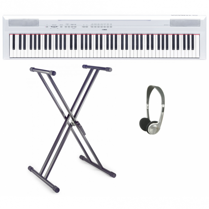Yamaha P115 Portable Piano In White with Double X Frame & Headphones