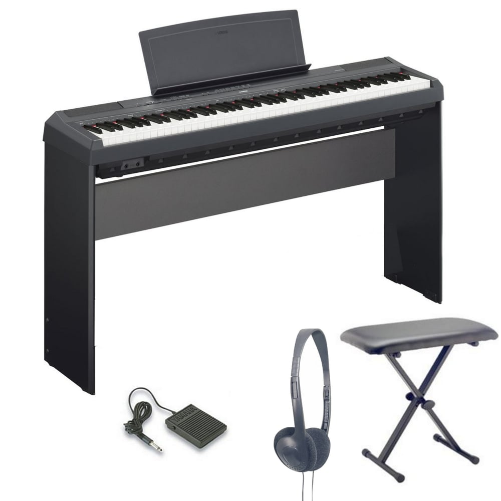 yamaha p115b portable piano stand bundle black from. Black Bedroom Furniture Sets. Home Design Ideas
