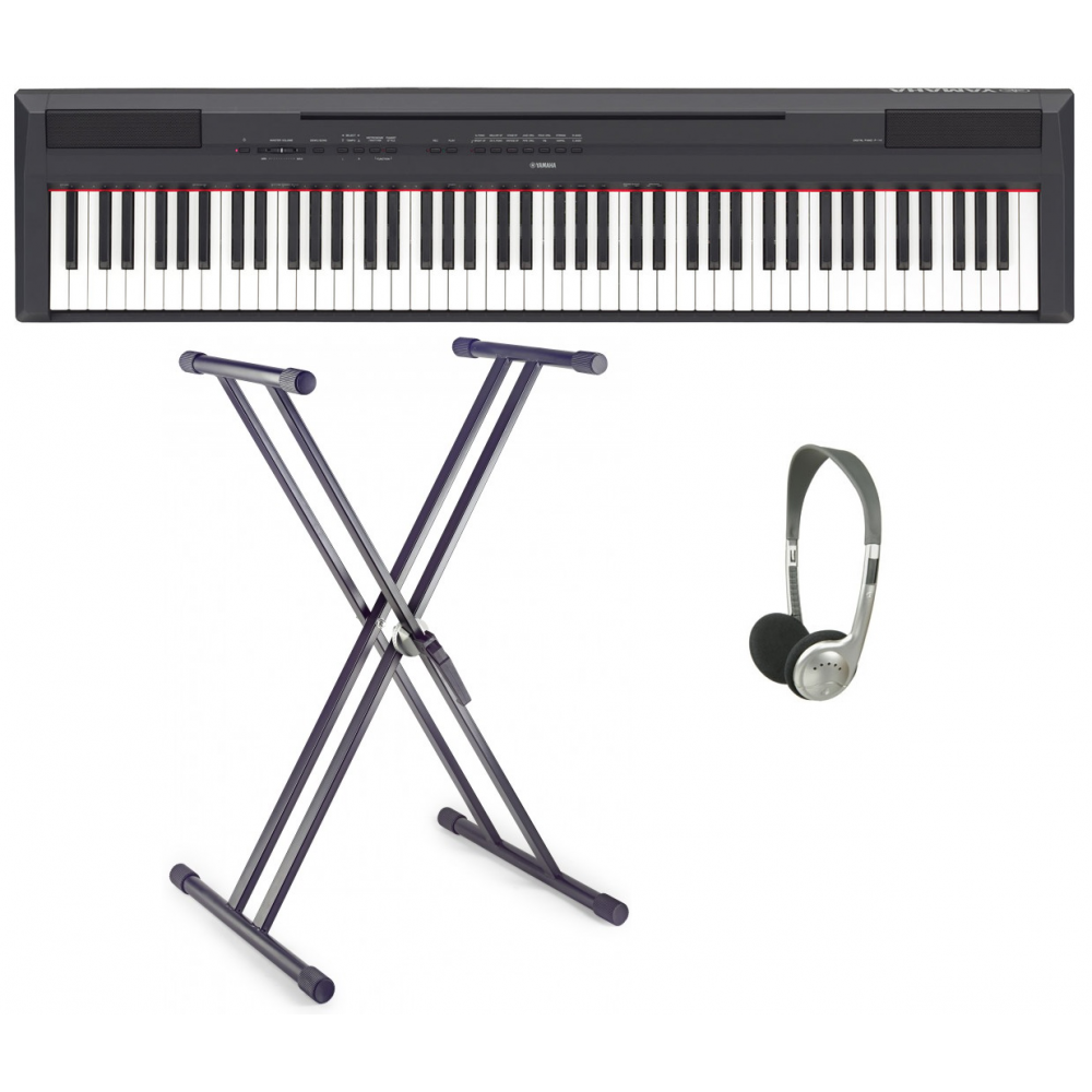 yamaha p115b portable piano with double x frame headphones. Black Bedroom Furniture Sets. Home Design Ideas