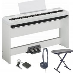 Yamaha P115W Portable Piano Complete Bundle | White