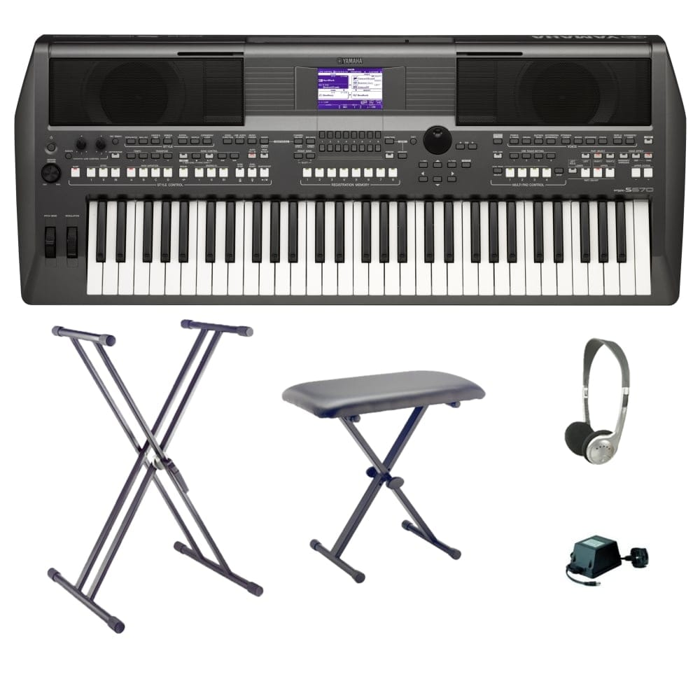 Yamaha PSR S670 Workstation Keyboard Bundle